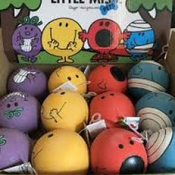 Mr Men And Little Miss Squeaky Latex Dog Ball